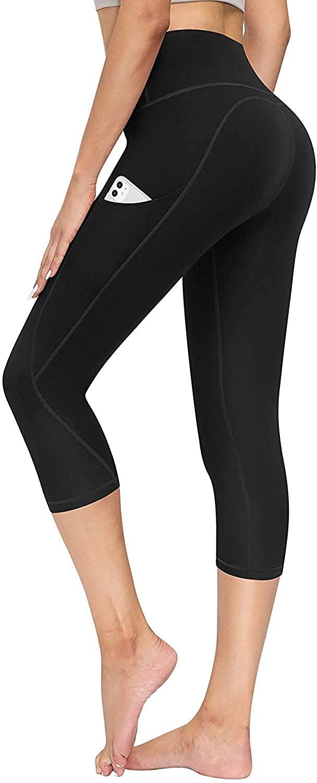 TQD High Waisted Yoga Pants for Women, Pocket Yoga Pants Tummy Control Workout Running Pants 4 Way Stretch Yoga Leggings Capri Black S