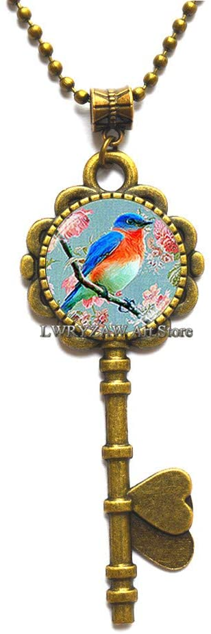 Blue Bird Key Necklace,Bird Key Necklace, Antique Bird Key Necklace, Bird Jewelry, Pink Blossom Key Necklace,Bird Pendant,M132