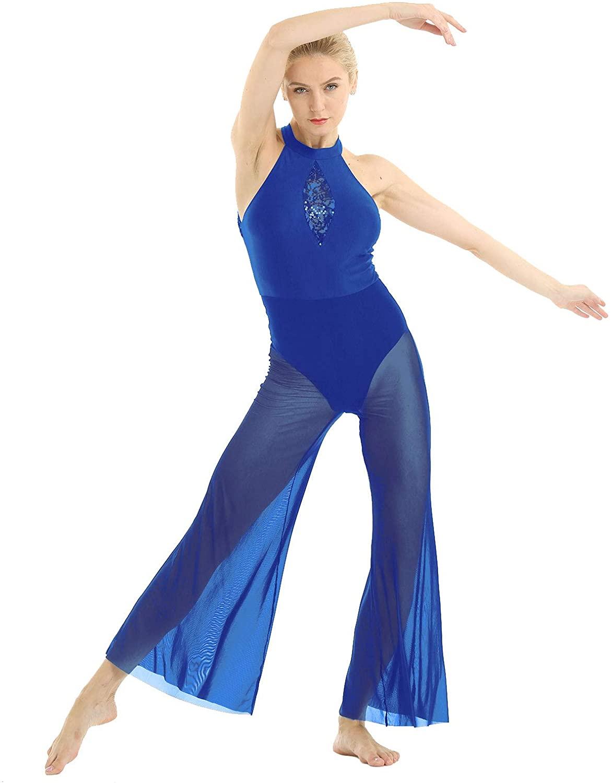 Freebily Women Sequin Lace Lyrical Sleeveless Halter Neck Jumpsuit Dance Costume