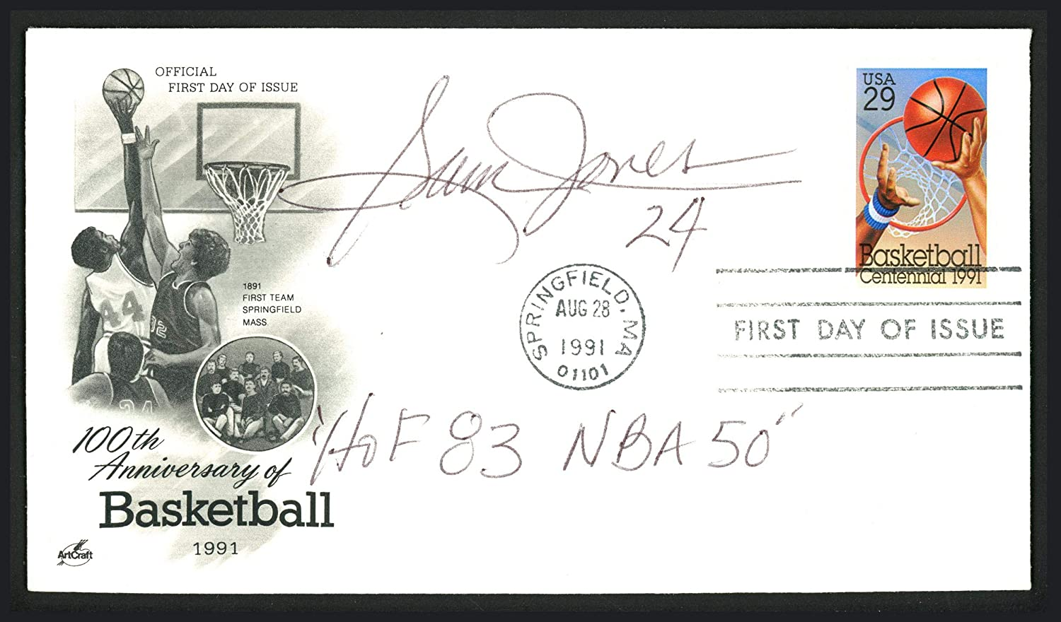 Sam Jones Autographed First Day Cover Boston Celtics