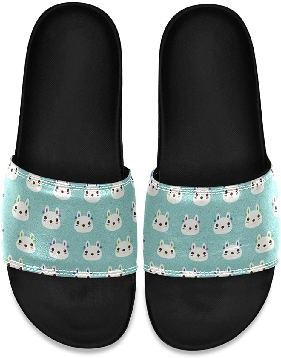 Vector Cute Rabbit Blue Men's Leather Slide Sandals Summer House Slippers Sport Boys