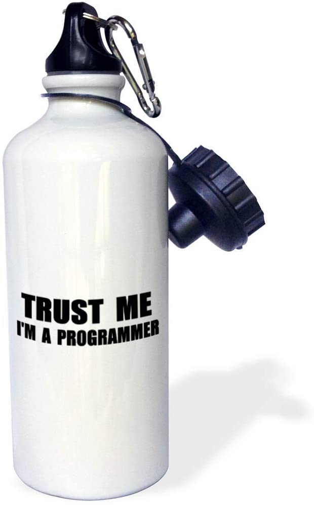 3dRose InspirationzStore Trust me Series - Trust me Im a Programmer. Programming Work Humor. Funny Job Text Gift - 21 oz Sports Water Bottle (wb_195648_1)