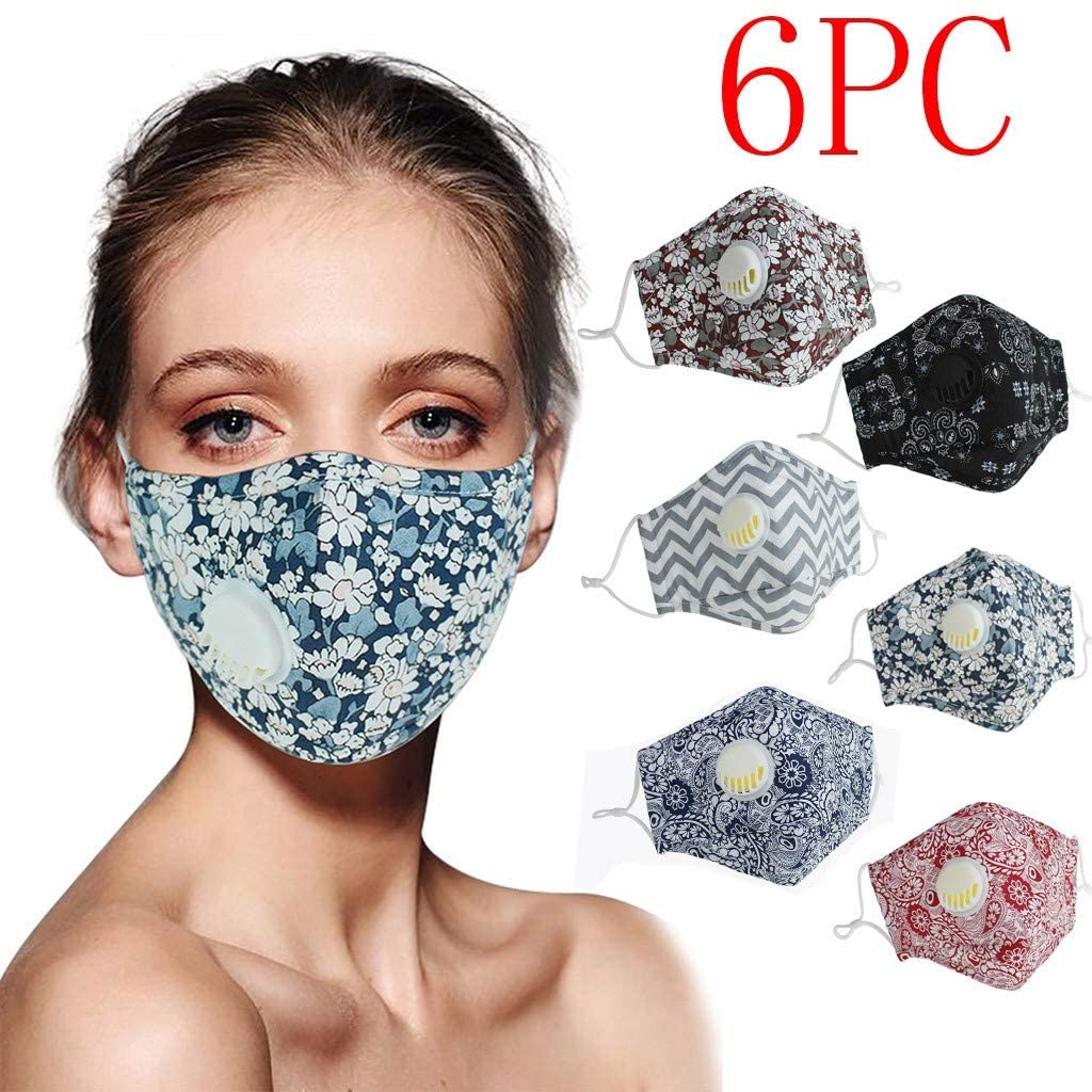 AJooED 6 pcs Adult's Reusable Breathable Face Bandanas with Breathing Valve (US Stock)