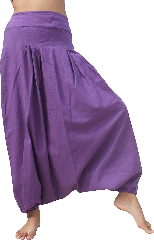 Full Funk Smock Back Cotton Mao Aladdin Wild Pant Amethyst Violet Size Small