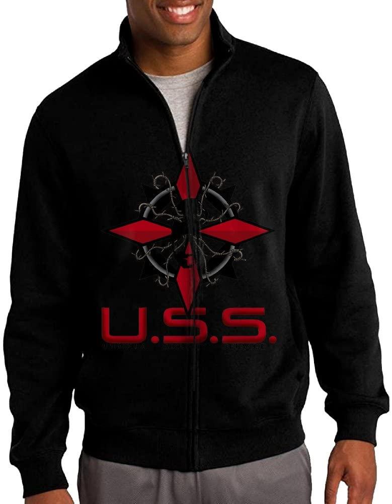 NHJH Men's Resident Evil USS Umbrella Corporation Zip-Front Hoodie Jacket Black