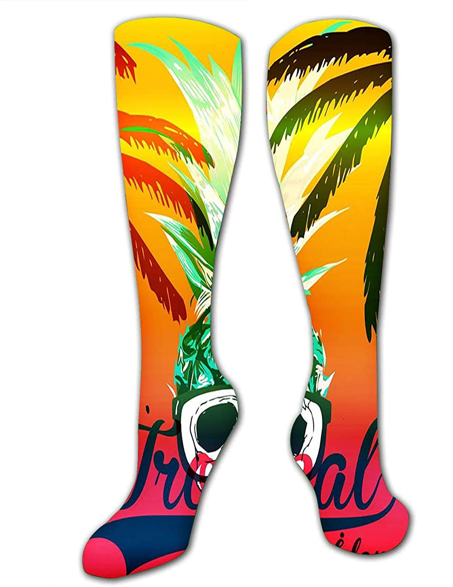 Compression Socks For Women Men Tropical Pineapple Skull With Sungrasses Casual