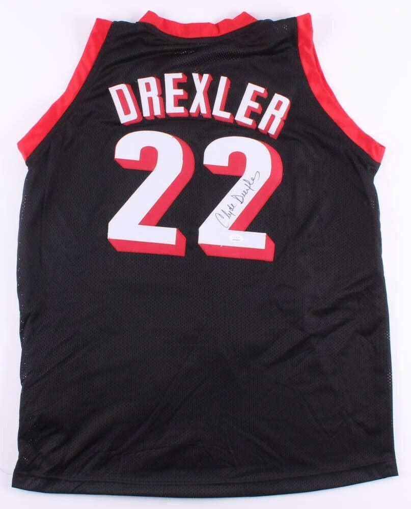 Clyde Drexler Signed Jersey - Red Black RED - JSA Certified - Autographed NBA Jerseys