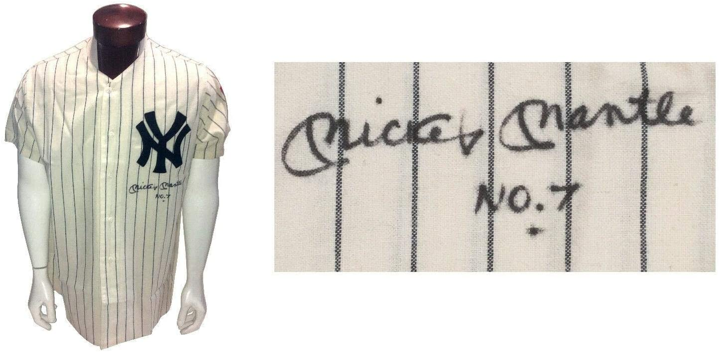 Autographed Mickey Mantle Jersey - MN 1951 INS No 7 LOA Graded Mint 9 - PSA/DNA Certified - Autographed MLB Jerseys
