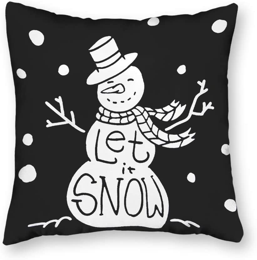 N/ A Throw Pillow Cover Let It Snow Framed Snowman Christmas 18x18 inch Cotton Linen Cushion Cover for Couch Sofa