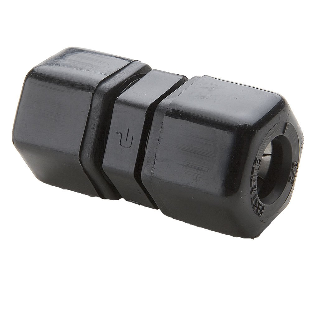 Parker P8UC6 Plastic Fitting, Fast-Tite, Tube to Tube, Black Polypropylene, Compression Union, 1/2