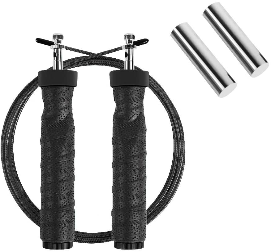 LEIKUO Weighted Skipping Rope 1-LB with Ball Bearings Rapid Speed Jump Rope Cable for Aerobic Exercise Like Speed Training, Endurance Training and Fitness Gym