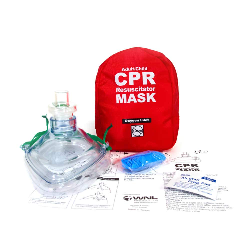 WNL Products Adult/Child Pocket CPR Rescue Resuscitation Mask Kit with One Way Valve and Belt Clip in Soft Red Case (1)