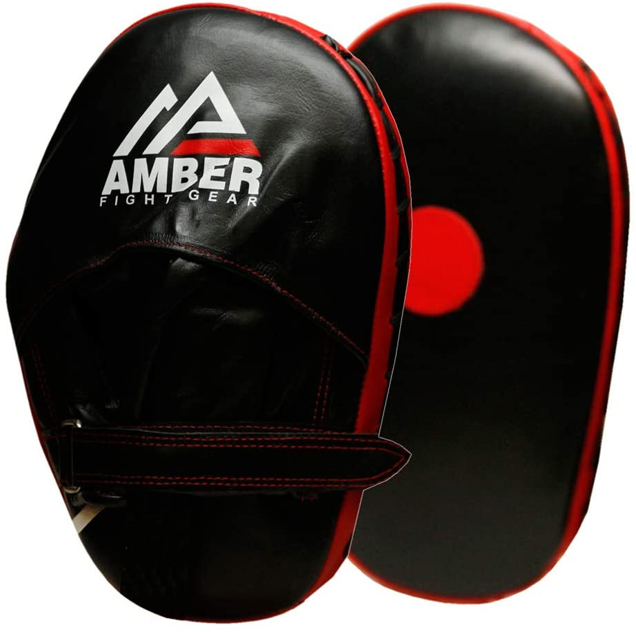 Amber Fight Gear Genuine Leather Classic Target Focus Punching Mitts for MMA, Kickboxing, Muay Thai Martial Arts Sparring with Wrist Support