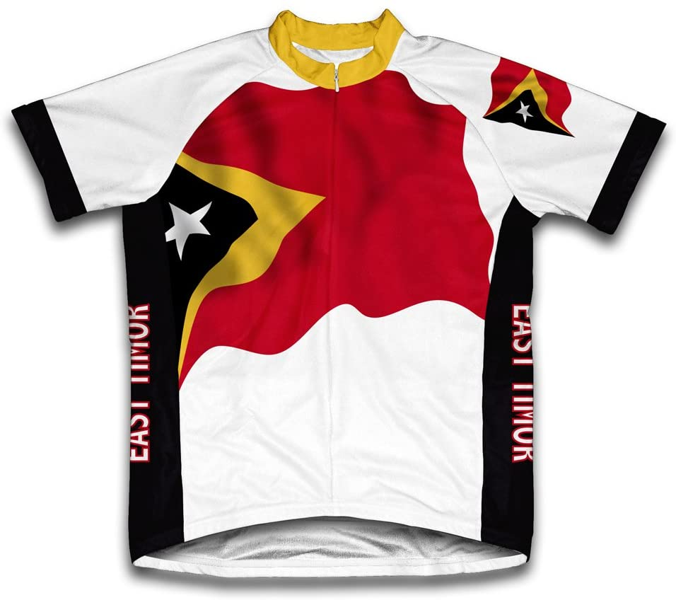 ScudoPro East Timor Flag Short Sleeve Cycling Jersey for Men