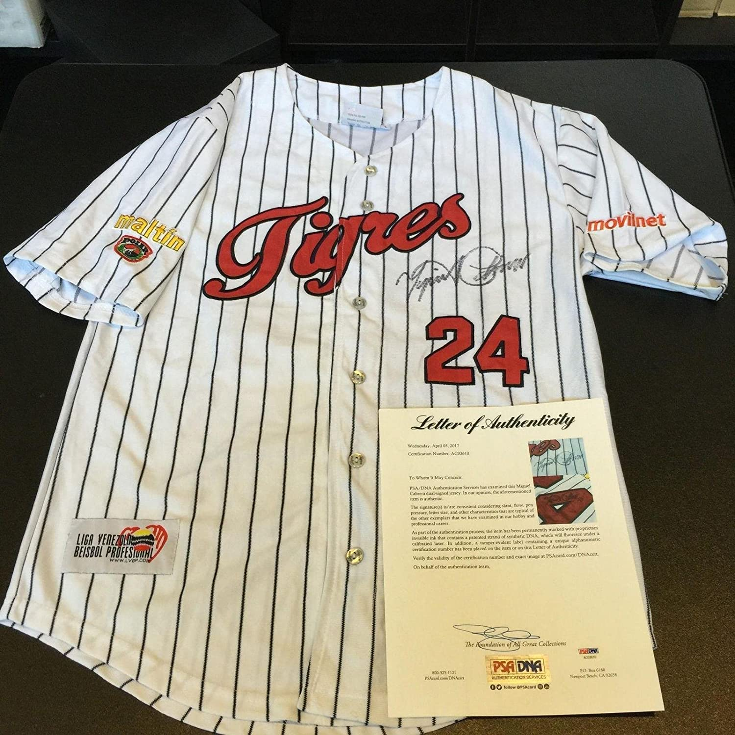 Miguel Cabrera Autographed Jersey - Twice Winter League COA - PSA/DNA Certified - Autographed MLB Jerseys