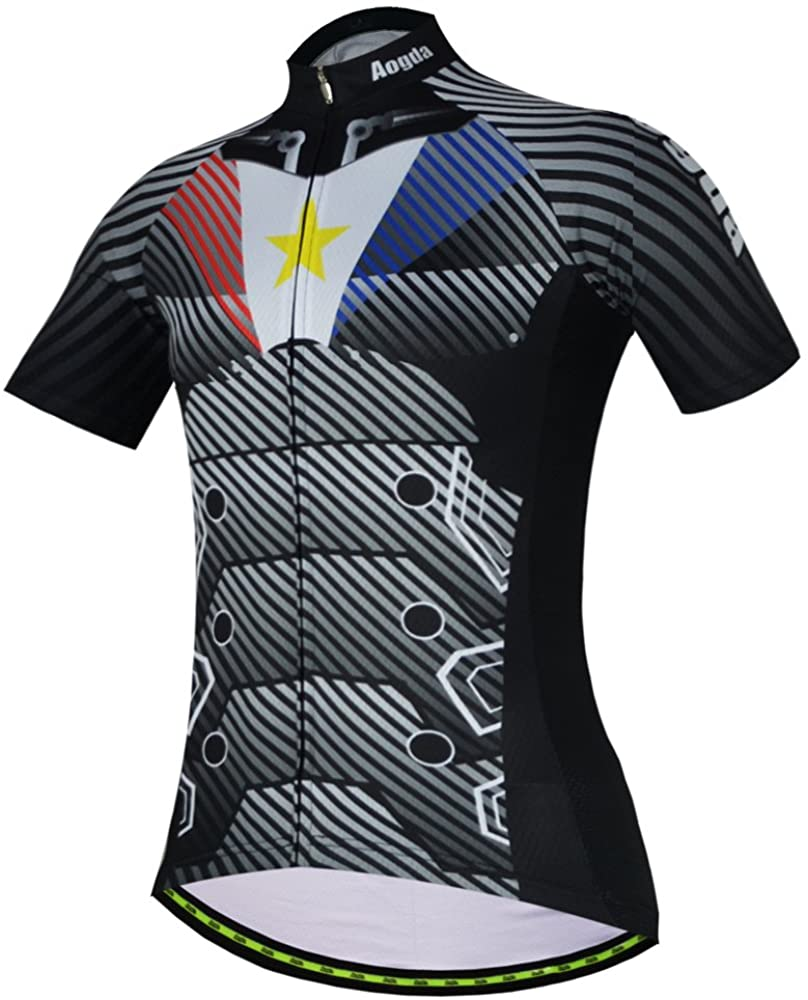 Aogda Men's Cycling Jerseys Moisture Wicking Breathable Quick-Dry Short Sleeve Bicycle Racing Shirt Bike Cycle Clothing D196