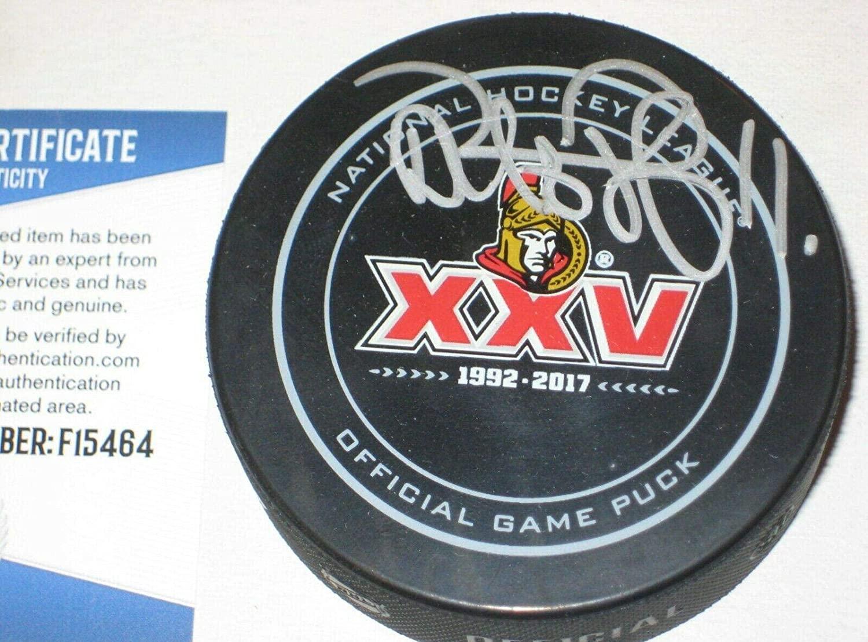 Daniel Alfredsson Autographed Puck - 25th Official w Beckett COA - Beckett Authentication - Autographed NHL Pucks