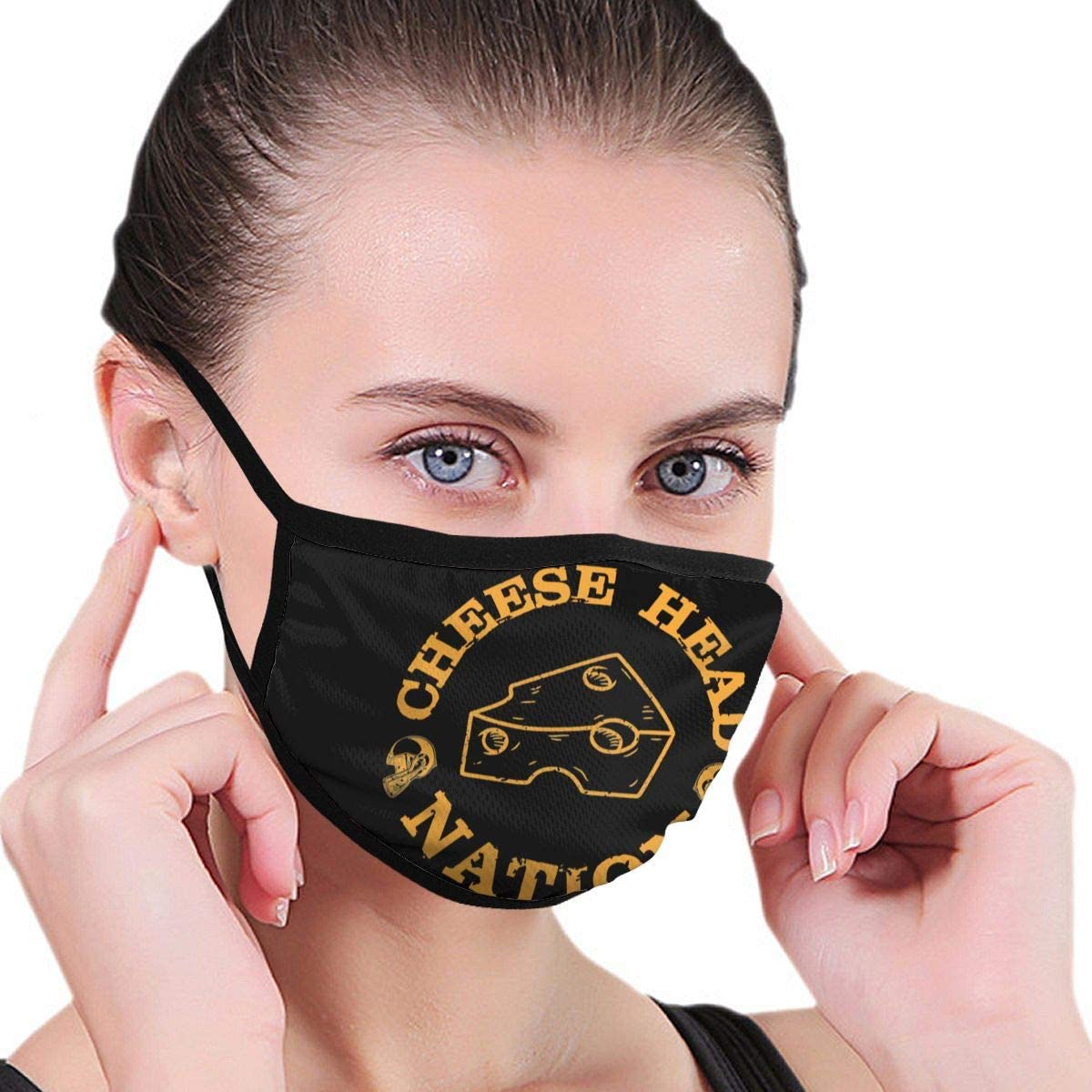 Qwertyi Green Bay Cheese Head Nation Face Cover Fashion Anti- Face Mouth Cover Windproof Adjustable Washable Cover for Outdoor Sports