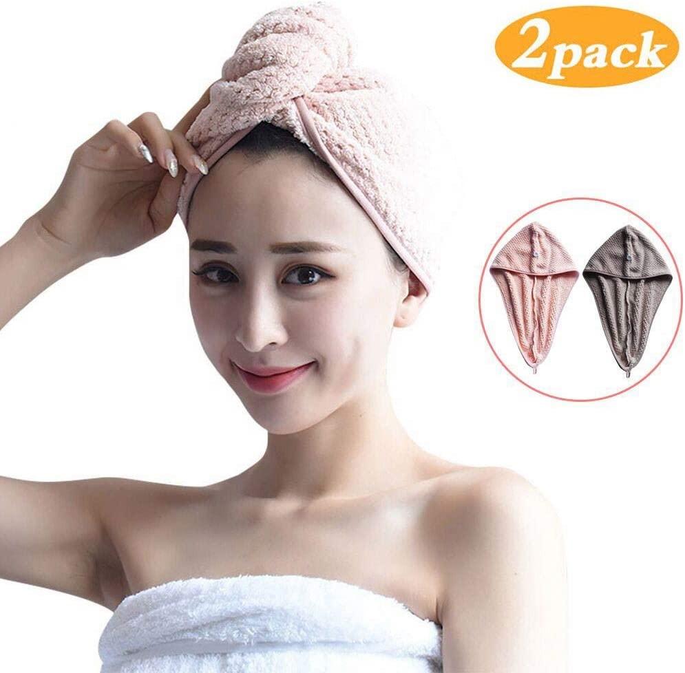 CapsA Quick-Drying Towel Dry Hair Cap Absorbent Cap Quick Dry Hair Cap Fast Hair Cap Hair Towel Wrap Turban Microfiber Drying Bath Shower Head Towel