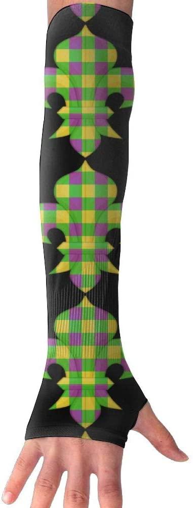 TO-JP Mardi Gras Fleur De Lis Gloves Anti-uv Sun Protection Long Fingerless Arm Cooling Sleeve