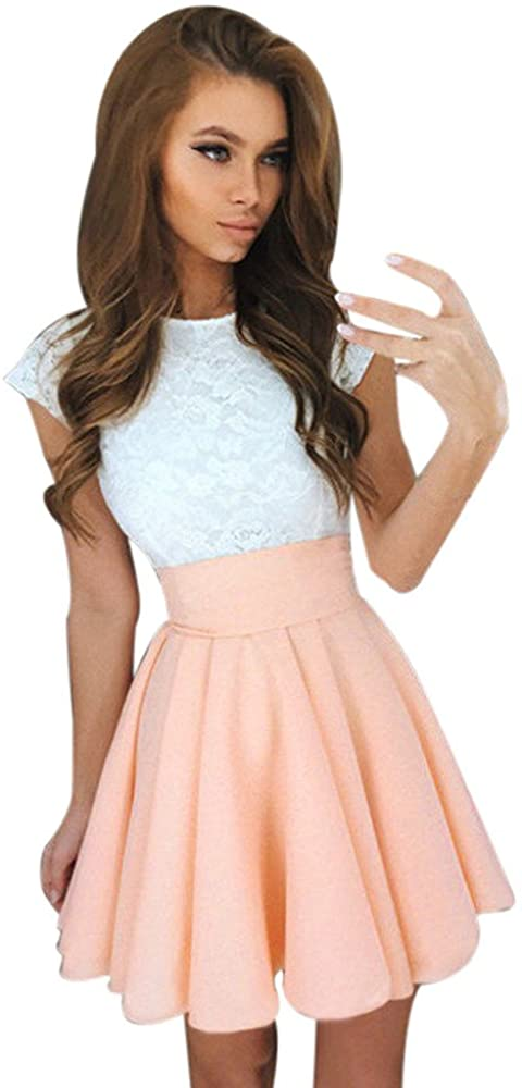 Womens Teen Girls Lace Patchwork Sleeveless Sundress Summer Prom Party Cocktail Mini Skater Dress