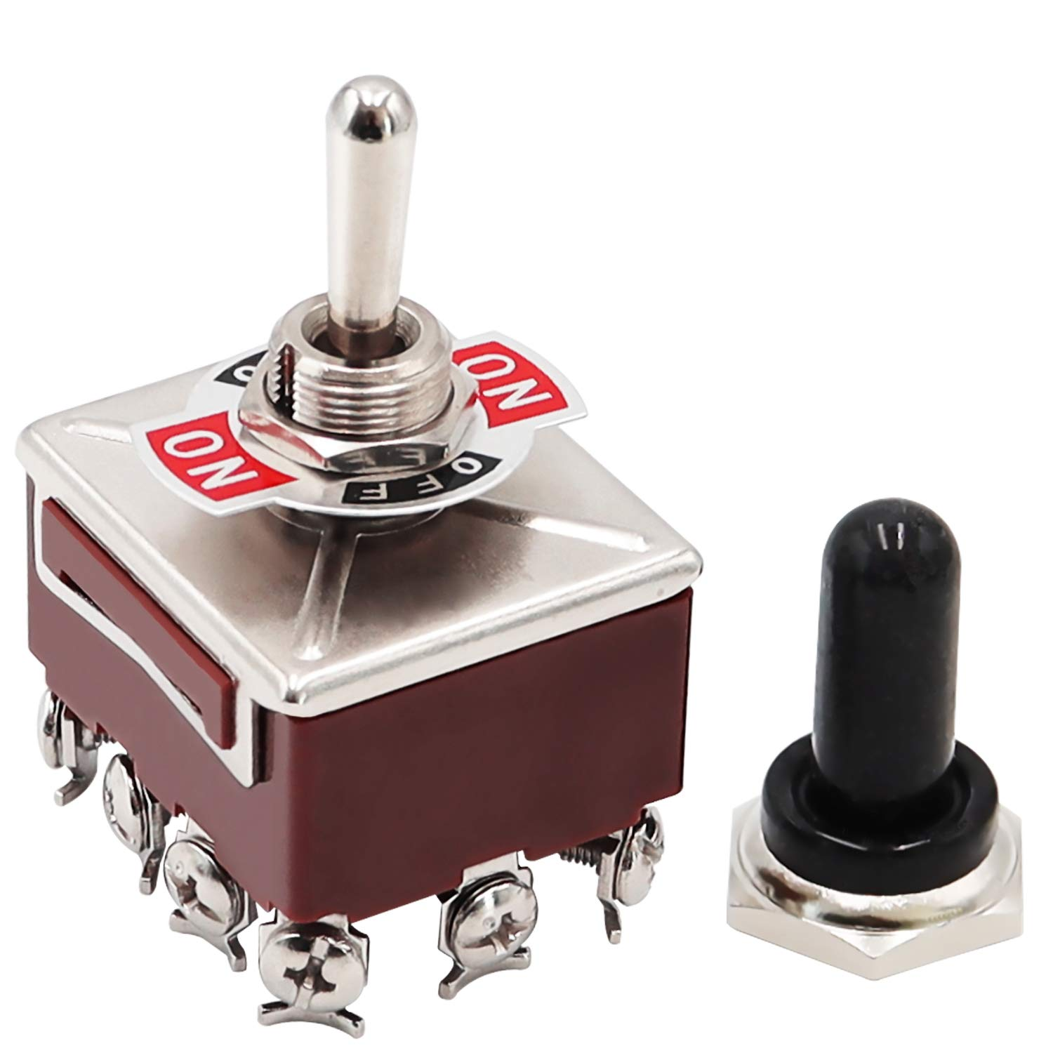mxuteuk Heavy Duty Rocker Toggle Switch 3 Position 4PDT 12 Terminal ON/Off/ON 15A 250V 10A 380V Toggle Switches with Metal Knob Cover Cap Waterproof TEN-403