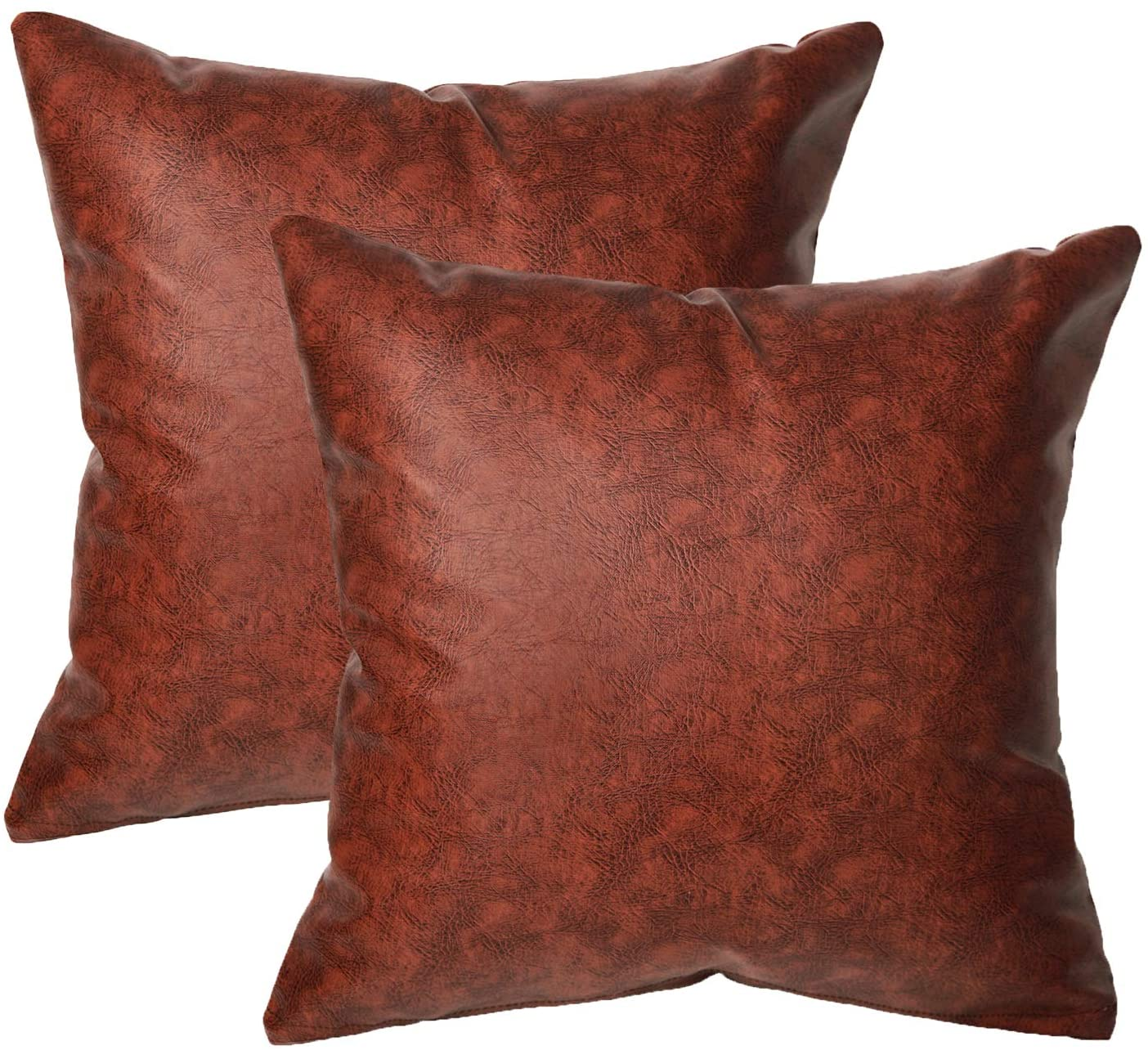 cygnus Pack 2 Feaux Leather Pillow Cover 18 x18inches Farmhouse Modern Look Brown Pillow Case Home Decorative Couch Cover (Brown)