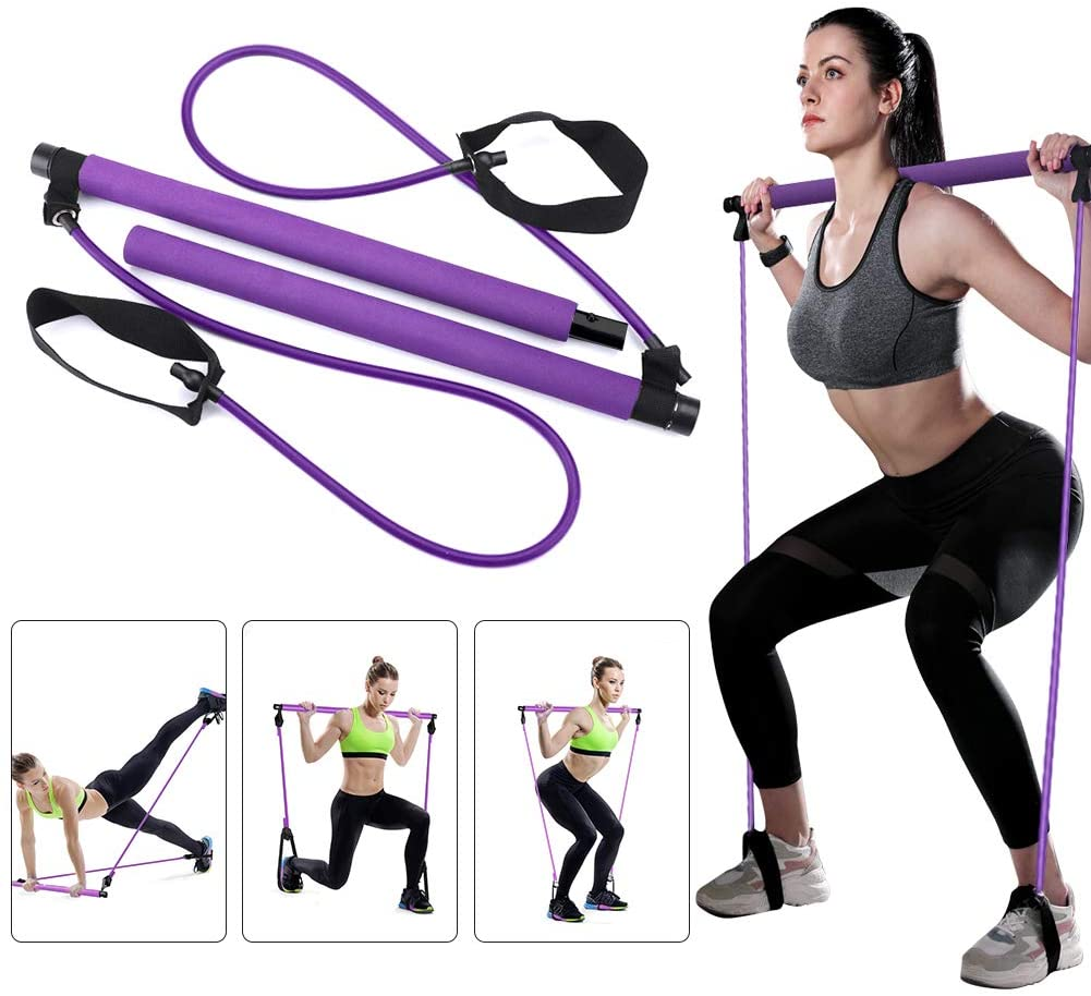 Greymond Portable Pilates Bar Kit Yoga Pilates Stick Muscle Toning Bar with Resistance Band, Home Gym Pilates Yoga Exercise Bar with Foot Loop for Total Body Workout