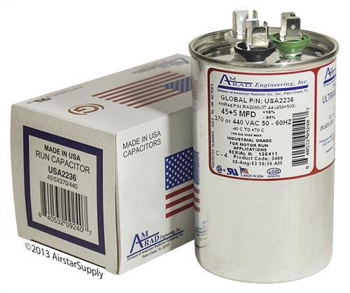 (2) Pack - Goodman CAP050450440CT Replacement - 45 + 5 uf/Mfd 370/440 VAC AmRad Round Dual Universal Capacitor, Made in The U.S.A.