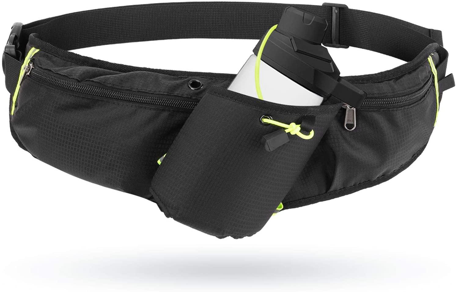 Odoland Running Belt Hydration Waist Pack with Water Bottle Holder for Men Women, Waist Pouch Fanny Pack Bag, Reflective Fits 6.5'' Cellphone