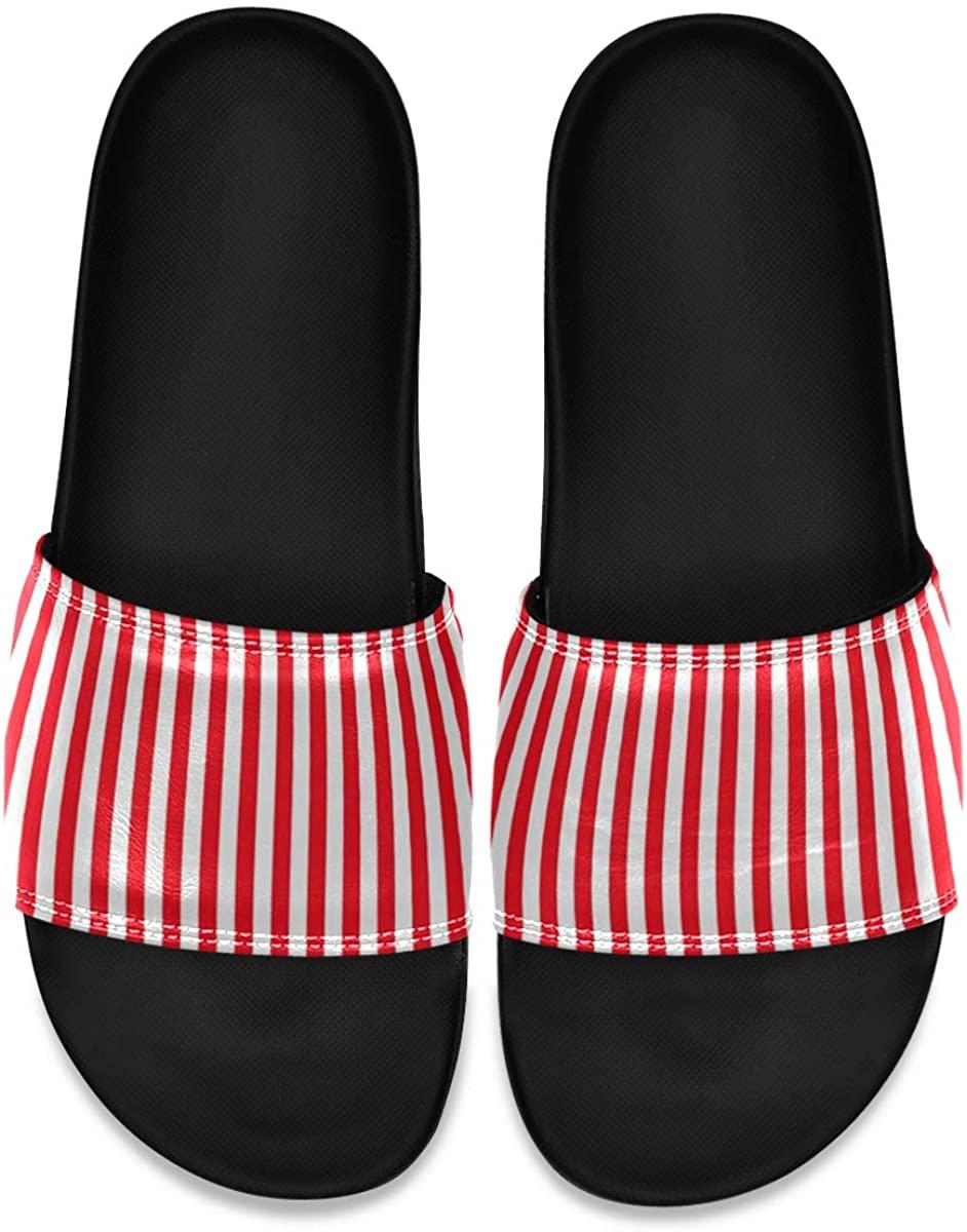 SLHFPX White Red Stripes Men's Leather Slide Sandals Summer House Slippers Open Toe Boys
