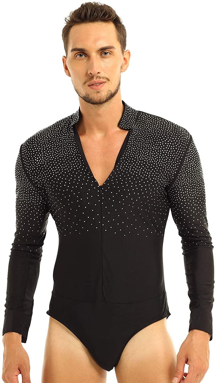 winying Mens Shiny Rhinestones Long Sleeve Latin Tango Rumba Dance Costume Shirt V-Neck Stand Collar Leotard Bodysuit