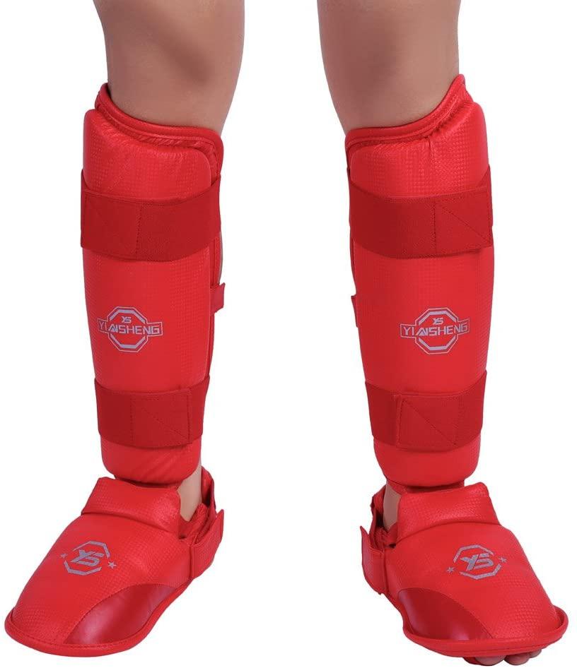 Keenso Boxing Protective Gear,1Pair Shin Protectors Padded Shank Leg Foot Guards Adjustable Strap Protective Gear
