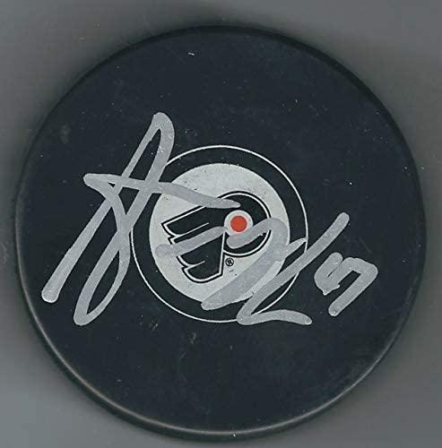 Autographed Andrew MacDonald Philadelphia Flyers Hockey Puck
