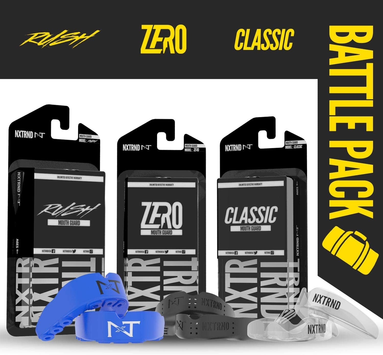 Nxtrnd Premium Battle Pack Blue – Nxtrnd Professional Mouth Guard Sports Kit for Training, Sparring, Fighting, All in One Fighters Bundle, Includes 6 Mouthguards & 3 Mouth Guard Cases