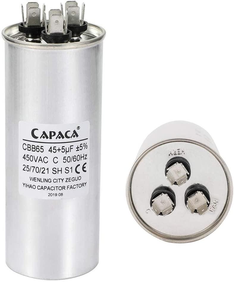 Capacitor 45/5 uf Dual Run Round 45+5 MFD CBB65A 450V AC 50/60Hz Electric Motor Start Run Capacitor for Air Conditioner or Heat Pump
