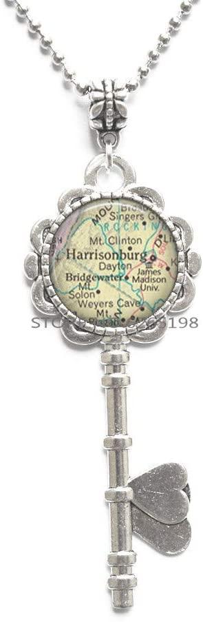 James Madison University map Key Necklace, JMU Pendant Harrisonburg, Va map College Alumni Student Gift Graduation Gift,map Jewelry Travel Gift,N333