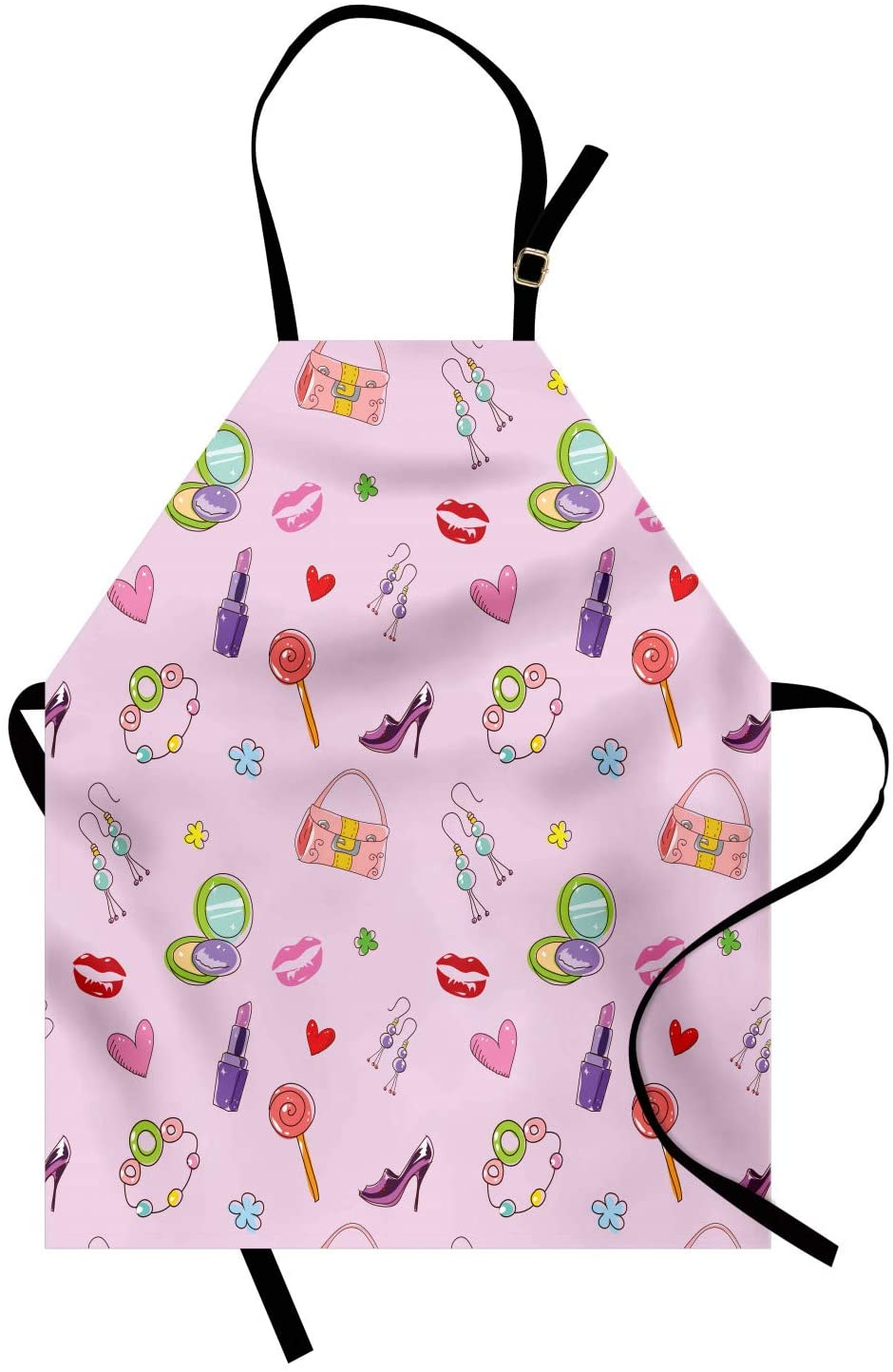 Ambesonne Princess Apron, Girls Illustration with Fashion Accessories and Makeup Lollipop Flower Print, Unisex Kitchen Bib with Adjustable Neck for Cooking Gardening, Adult Size, Pink Purple