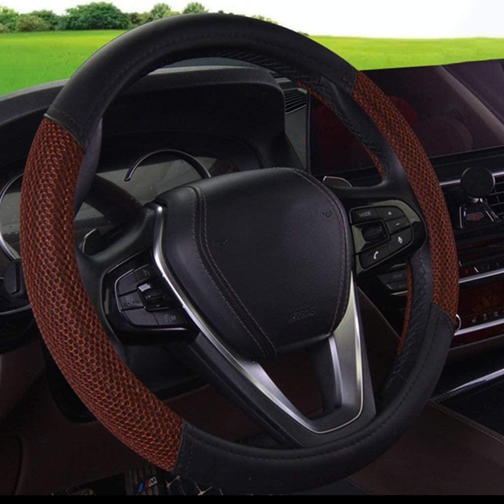 Ersanc Summer Woven Sweat-Absorbent Ice Silk Car Steering Wheel Cover Men and Women Four Seasons Universal Anti-Skid Breathable Handlebar Set