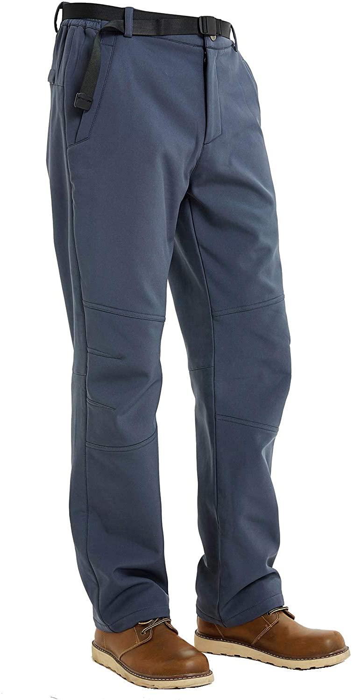 Men's Softshell Fleece Lined Outdoor Pants Windproof Hunting Mountain Hiking Skiing Warm Winter Pants
