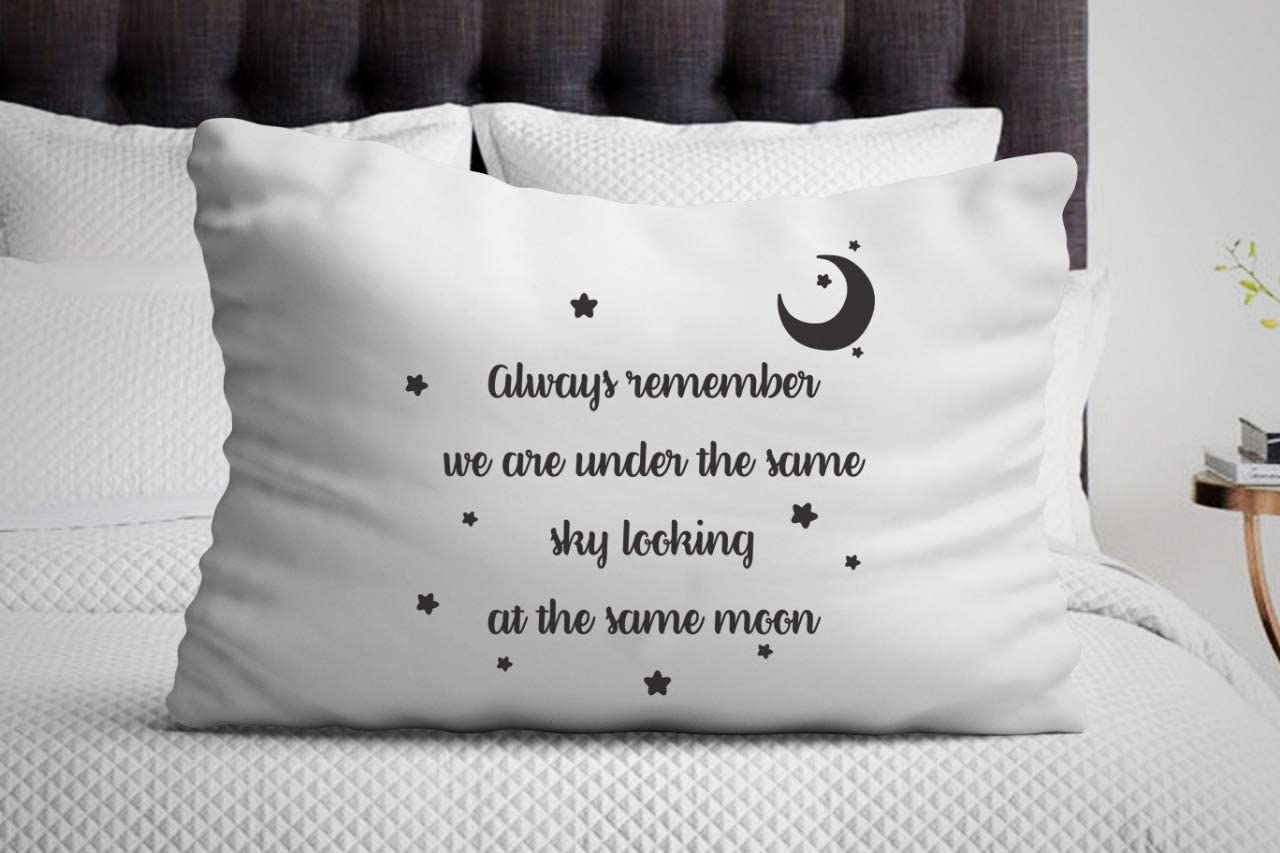 Boston Creative Company We are Under Same Sky Looking at Same Moon Pillow Cover Long Distance Relationship Boyfriend& Girlfriend Lovers Gift idea Couples Gift Pillowcases Miss You Gift Ideas