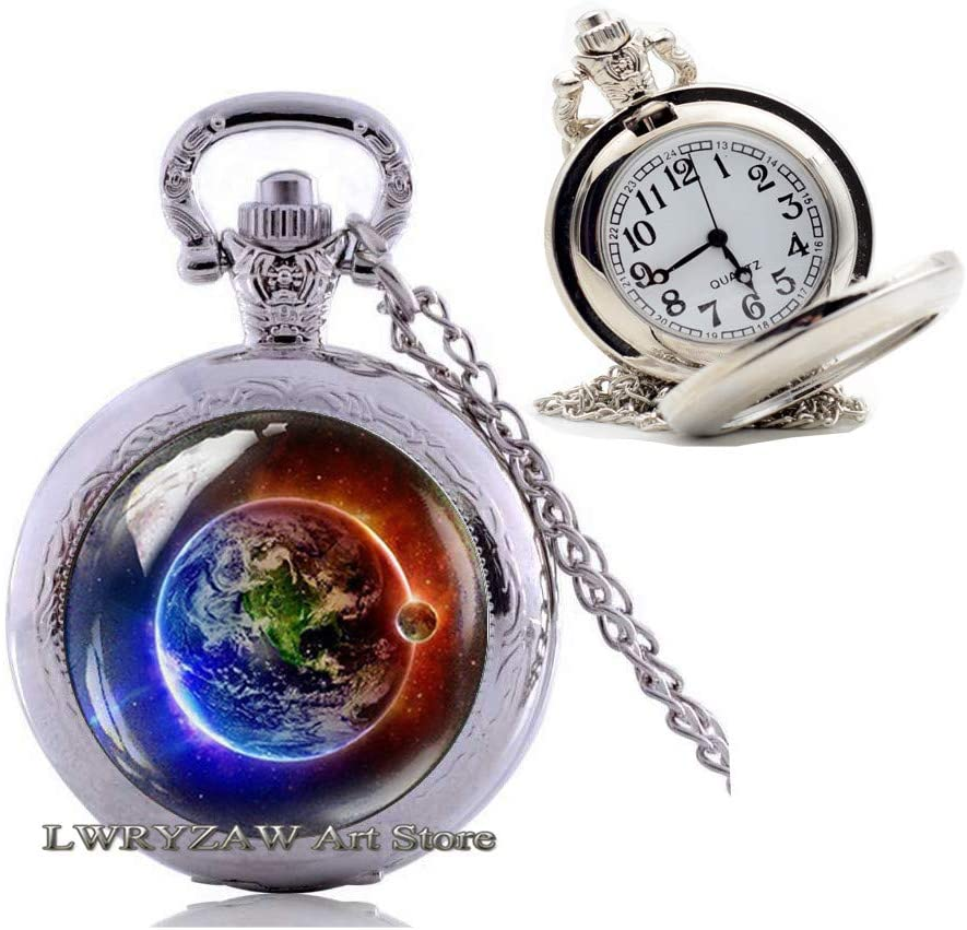 Earth Blue and Red Pocket Watch Necklace, Fire Water Jewelry, Space Pendant, Universe Jewelry, Galaxy Pocket Watch Necklace, Planet Earth Pocket Watch Necklace Men's Pocket Watch Necklace,M28