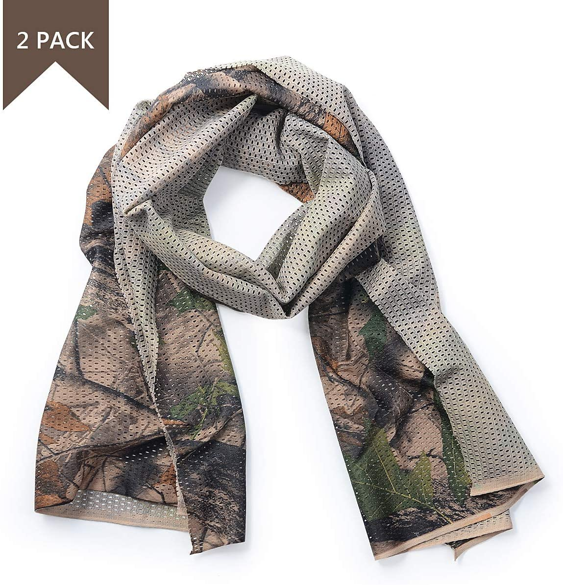EAmber Camo Scarf Wrap Camouflage Netting Tactical Neck Warmer Neck Gaiter Face Mask Hood Headband Netting Mesh for Sports Outdoor Activities