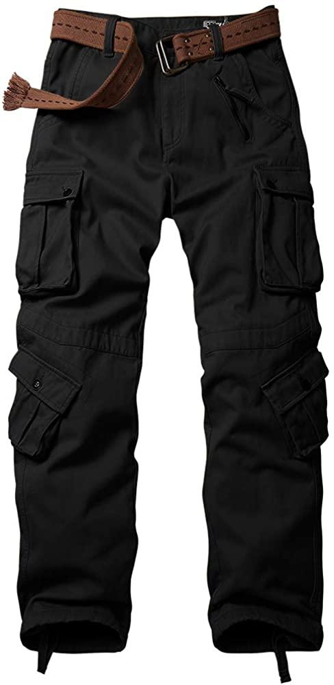 Asfixiado Hiking Pants Mens,Waterproof Fleece Ski Snow Insulated Soft Shell Pants (6084 Black, 34)