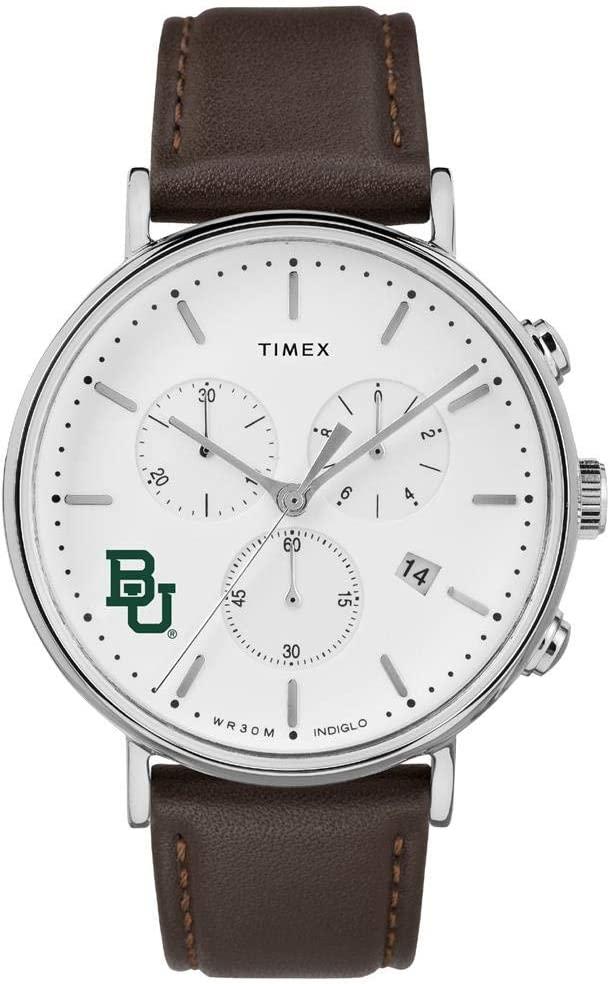 Timex MensBaylor University Bears Watch Chronograph Leather Band Watch