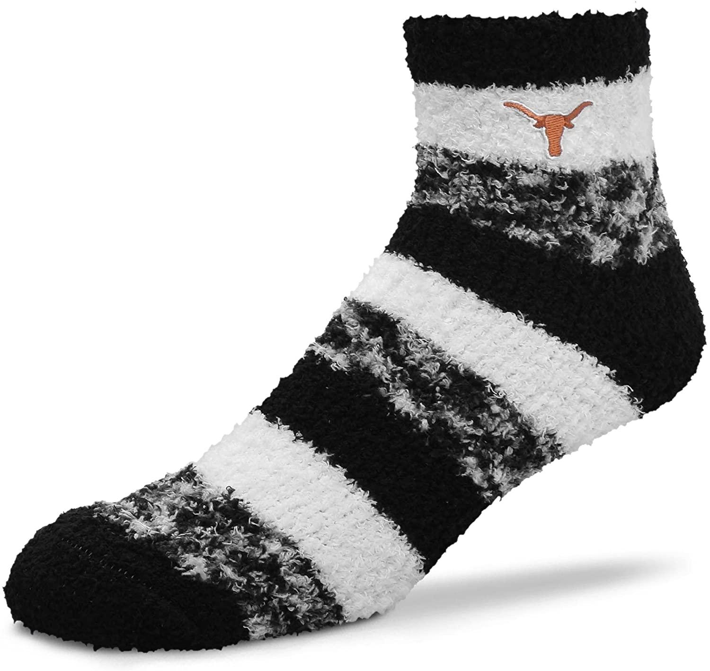 For Bare Feet NCAA RMC Pro Stripe Fuzzy Sleep Soft Sock -Texas Longhorns-Size-Medium