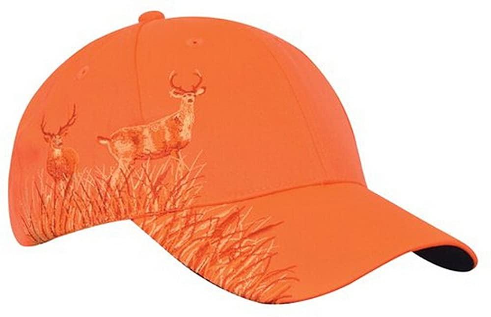 KC Caps Men Hunting Hat Orange Embroidered Baseball Cap Adjustable Back Closure,Neon Orange Buck