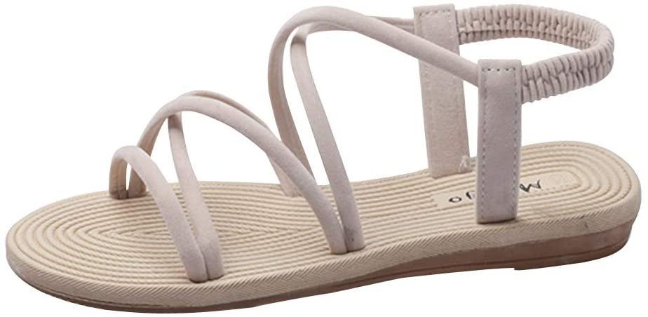 Women's Elastic Flat Sandals Gladiators Beach Flat Strappy Flip Flops Casual Beach Shoes