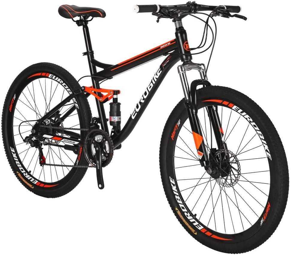 Eurobike S7 Mountain Bike 27.5 Inche Mutil Spoke Wheels Dual Suspension 21 Speed Mountain Bicycle Black Orange