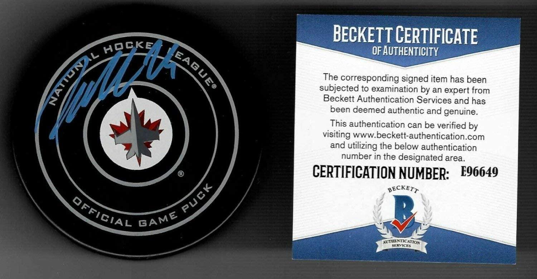 Authentic Autographed Patrick Laine Winnipeg Jets NHL 100 Official Game Puck Beckett COA